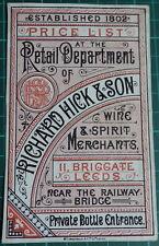 More details for richard hick & son briggate leeds antique advertising design wine whisky gin etc