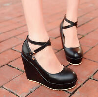 Vintage Womens Wedges Heels Platform Ankle Cross Strap Buckle Cute Sandals Shoes