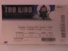 The Who  concert ticket  16/6/2013 London O2... used