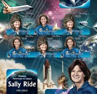 SALLY RIDE NASA Astronaut Challenger Space Shuttle Stamp Sheet (2012 Mozambique)