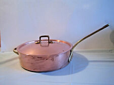 VTG Copper - Brass  9 3/4 inch Fry Pan Skillet with Lid  - 3 1/8 inch Deep