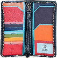 Visconti Luxury Black & Multi Travel Flight Wallet Organiser Clutch Purse SP28