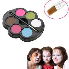 Professional 6 Color Face Paint Palette Brush Kit Halloween Make Up Kids Fun