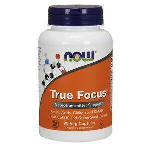 NOW Foods TrueFocus 90 Vcaps   Taurine  Ginko Biloba  DMAE  Phenylalanine