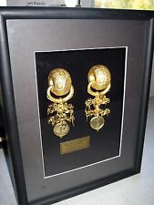 New Gold Earrings National Treasure #90 Replica w/glassed Case 24k Gold Plate
