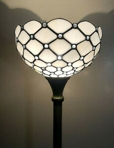 Enjoy Floor Lamp Crystal Bean White Stained Glass  Antique Vintage W12H66INCH