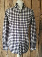Mens Massimo Dutti Check Gingham Shirt Purple small 40 Chest Casual Fit