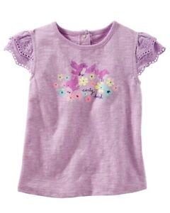 OshKosh B'gosh Little Girls' Eyelet Sleeve Top, Earlybird Purple, 2T