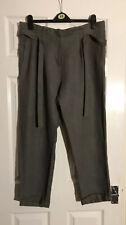BNWTs Kookai Brown/ Grey Paperbag Belted Waist Landgirl Linen Trousers Sz 16