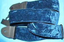 """Blue Crushed Velvet  2""""  Guitar Strap  with Woven Backing by LM, PS-3CV BL"""