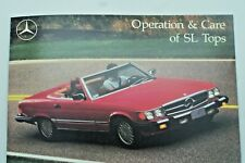 Mercedes 560 SL Owners Manual top Supplement operation care sl tops w107 380 450