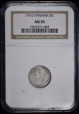 1916 Panama 5 Centesimos Silver Coin NGC-AU55 Low Mintage 5c KM-2