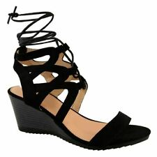 New Womens Ladies Low Wedge Strappy Summer Sandals Ankle Lace Tie Up Black Size