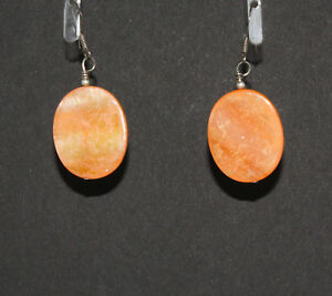 Native American Coral Oval Earrings by Charmayne Nelson Navajo Quantity Discount