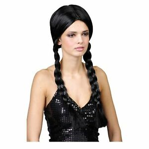 School Girl Plaits Pigtails Wig Wednesday Addams Ladies Fancy Dress Accessory