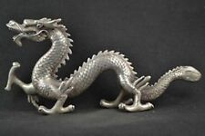 China Old Decorated Tibetan silver Hand Carved Lifelike Dragon Rare Noble Statue