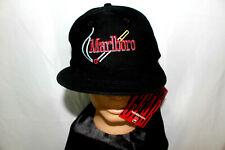 Nwt vtg 80s 90s Black Marlboro Cigarettes Strapback Hat Cap Smoking Butt Logo