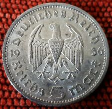 Germany Nazi 5 Reichsmark Hinderburg 1936 E .900 Silver Lot  305