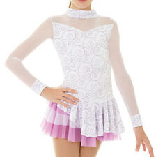 Mondor 2752 White Purple Swirl Ice Skating Figure Skating Competition Dress