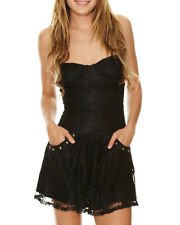 BNWT BILLABONG LADIES BROAD WAY LACE BUSTIER DRESS (BLACK) SIZE 6-8