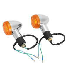 2x Motorcycle Amber Chrome Bullet Front Rear Turn Signal Blinker Indicator Light