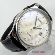 43mm PARNIS White Dial leather Strap SS Case date Automatic Movement men's Watch