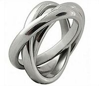 TRIPLE BAND RUSSIAN WEDDING RING HIGH POLISH STAINLESS STEEL MENS/WOMENS
