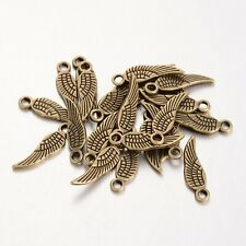 Wing Charms Antique Bronze Angel Pendant Pack of 50