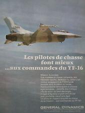 12/1974 PUB GENERAL DYNAMICS YF-16 US AIR FORCE FIGHTER ORIGINAL FRENCH AD