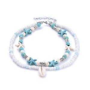Bracelet cheville femme pendentifs étoiles mer turquoise perles blanches élégant