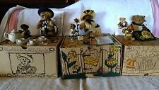 3 Sets Of The Loyal Order of Friends of Boyd's, Tea, Sunflower, Bee Happy Bear's