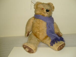 VINTAGE BEAR 58CM  HONEY COLOURED MOHAIR ENGLISH WITH PURPLE SCAFF BEAR