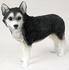 SIBERIAN HUSKY DOG Figurine Statue Hand Painted Resin Black White Brown eyes