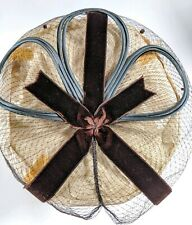 Vintage Ladies Blue Cording Church Hat Hairpiece With Dot Net Brown Velvet Bow