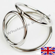 BALL STRETCHER !! PENIS RING TRIPLE CAGE SOLID STEEL CHROME STUD