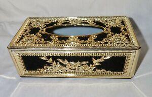 Ornate Tissue / Napkin Box cover, Black and Gold plastic cover box