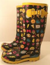 Betsey Johnson Rain Snow Rubber Boots FUN Imogees BLK Galoshes Wellies Womens 8M