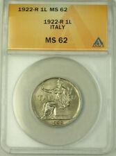 1922-R Italy 1 Lira Coin ANACS MS 62