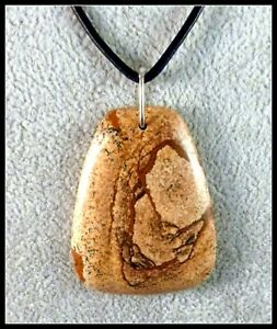 "NEW Picture Jasper stone PENDANT necklace w .925 bail, 21"" leather cord"