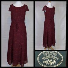 Vintage Laura Ashley Burgundy Large Floral Print Maxi Dress Size 8