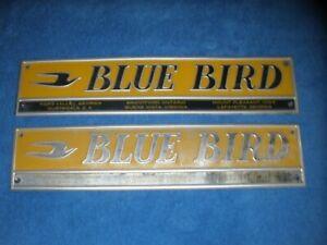 PAIR 1950S 1960S 1970S BLUE BIRD BUS EMBLEMS USA CANADA MEXICO RARE ORIGINAL