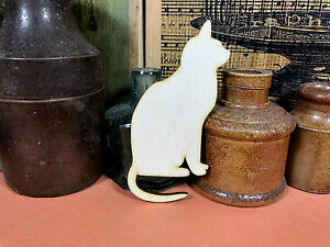 CAT SHAPE WOODEN ELEGANT SITTING Multiple Sizes Wood Kitty Shape 2.5cm to 25cm