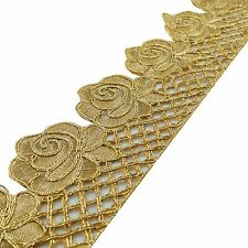 Cut Work Trim Gold Embroidered Sari Border 7.87 Cm Material Wide By The Yard
