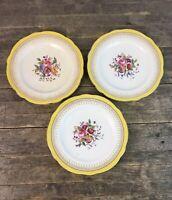 Three Coalport Yellow & White Floral Design 22cm Plates.