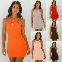 UK Womens Sexy Sling Backless Bodycon Dresses Holiday Ladies Summer Beach Dress