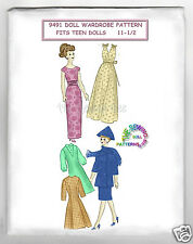 "Fits Barbie Teen Dolls Doll Pattern Wardrobe Mail pattern 11 1/2"" vintage 9491"