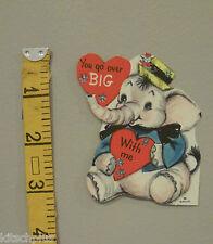 Vtg Valentine Card Dressed White Elephant Mouse on Hat Hallmark 50's 60's Unused