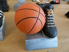 "nice basketball trophy, new, 3.5"" x 3.5"", with engraving, colored ball & shoe"