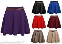 Womens Skater Skirt Ladies Plain Mini Belted Short Skirt8-14