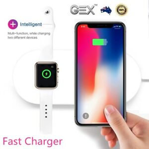 2IN1 QI Fast Wireless Fast Charger Pad Mat For iPhone 13 Pro Max 11 12 XS XR